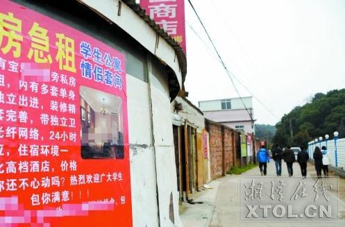 在岳塘区东湖路,围墙上张贴着出租情侣套间的广告。(记者 陈旭东 摄)