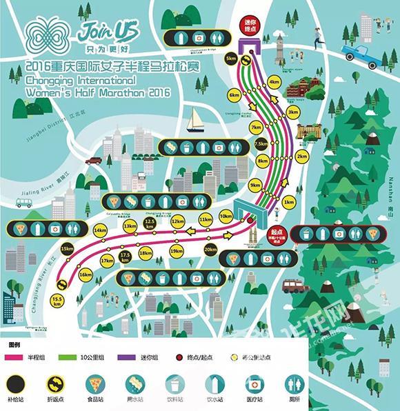 重庆国际女子半程马拉松赛路线图.-这是啥 重庆女子半马拉松终点有图片