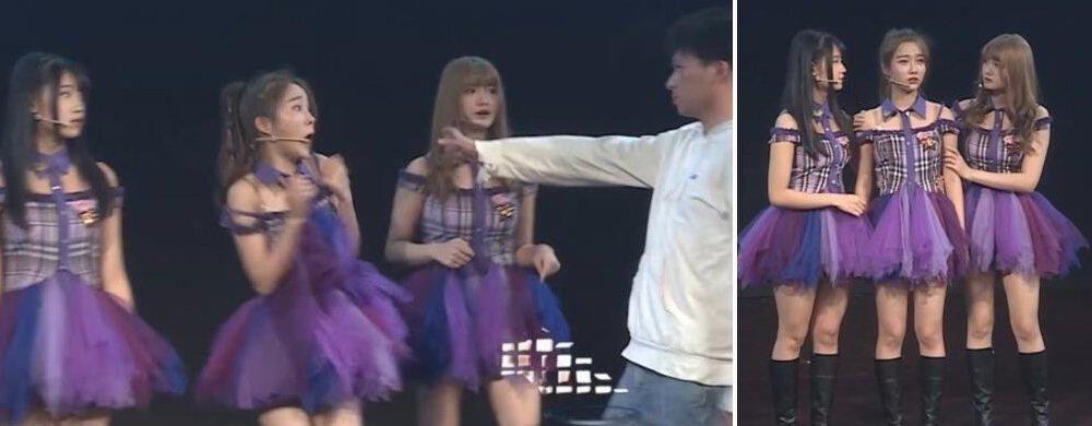 SNH48遇狂热粉冲上台 被吓得花容失色