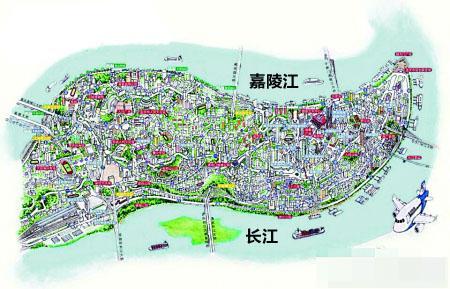 网友3d手绘渝中半岛 渝中一街一楼都清晰(图)