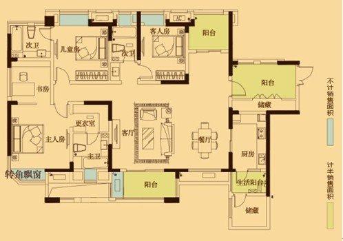 求110-120平米房屋平面设计图 3室2厅1厨房 厕所主卧1
