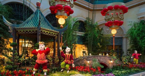 拉斯维加斯贝拉吉奥酒店(Bellagio)中国春节主题布置