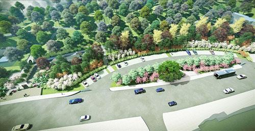 三是强化园林景观要素设计,步行入口景门,花架,画廊等园林小品格调与