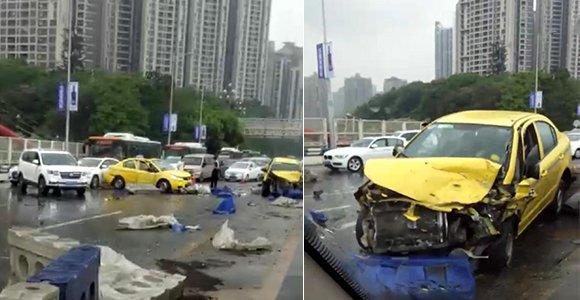 下雨更要小心驾驶!鹅公岩大桥发生多车相撞事故