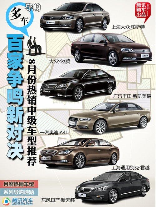 2013年8月热销中级车推荐
