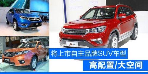 将上市自主品牌SUV车型前瞻 高配置/大空间