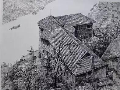 学教授欧阳桦用钢笔画的嘉陵宾馆重庆是座山城,嘉陵宾馆是一幢典