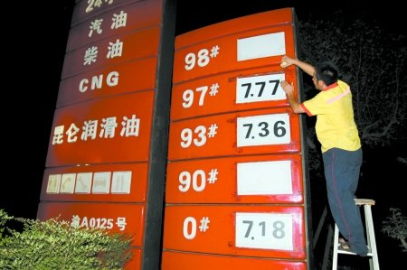 油价今日起上调 93号汽油每升涨0.31元