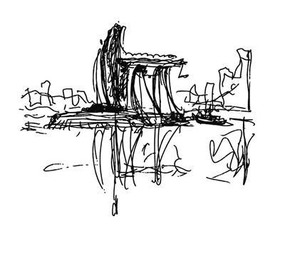 重庆来福士广场手稿图