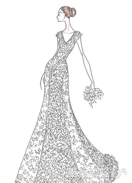 8位设计师绘制婚纱手稿