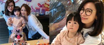 佘诗曼晒照为干女儿庆生母爱爆棚 43岁仍是逆龄美少女