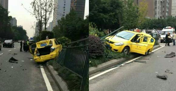 网曝出租车疑似被后车撞 飞速冲上隔离带