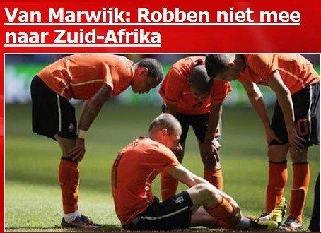 荷兰主帅亲口确认 罗本韧带撕裂不随队去南非