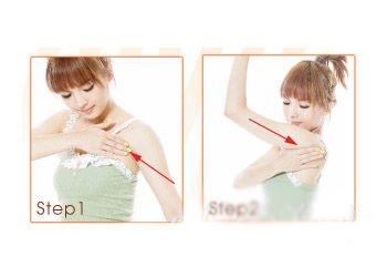 腋下淋巴结处可以多加按摩几下,一边15次.  Step2:手臂至腋下