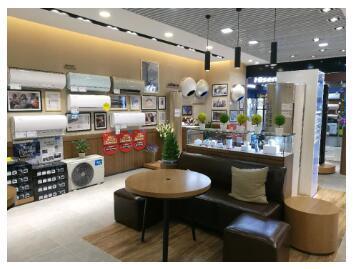 空调专区部分品牌的展厅被设置成了咖啡厅