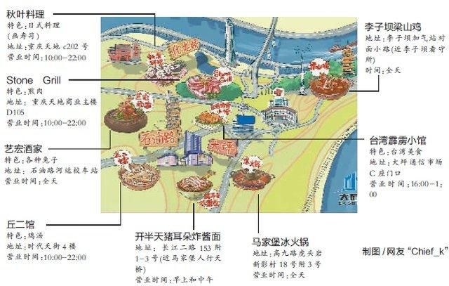 网友手绘美食地图 带你寻找大石化片区美食
