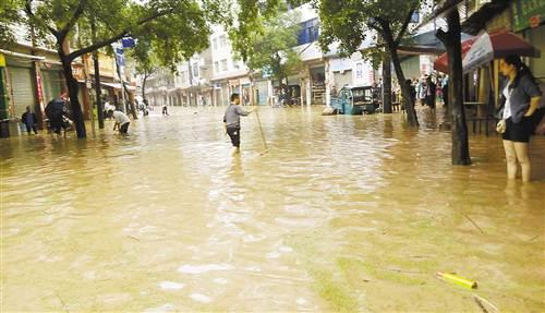 洪水袭击丰都龙孔场镇 致多幢居民楼底楼被淹(图)
