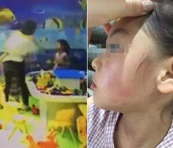 游乐场争玩具女孩遭对方家长掌掴 打人者被行拘