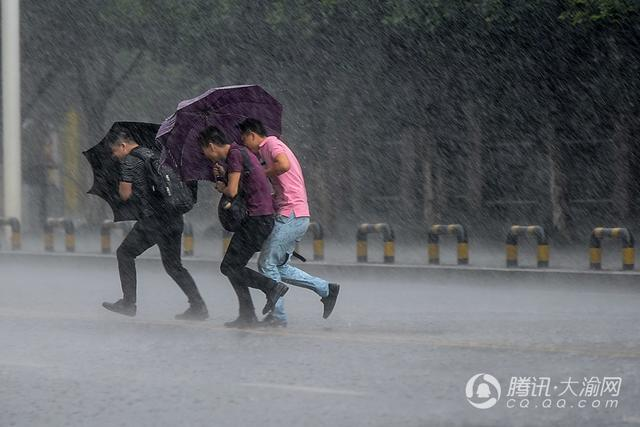 渝北区多地突降暴雨 市民淌水前行(图)