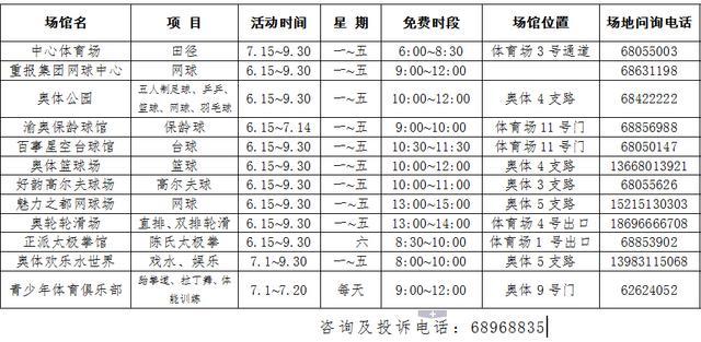 重庆奥体免费健身公益活动 12个场馆免费开放