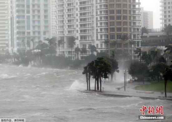 """当地时间9月10日,飓风""""艾尔玛""""抵达美国佛罗里达州沿海地区。根据美国国家飓风中心公布的最新消息,""""艾尔玛""""再度升级为4级飓风。佛州州长里克·斯科特说,佛州共有630万人收到撤离令,其中70万人收到强制撤离令。这一人数占该州总人口四分之一,已成为美国史上最大规模的应急撤离。斯科特说,""""艾尔玛""""将带来龙卷风、暴雨和风暴洪潮,降雨量预计达到38厘米,西南沿海的海浪最高可达4.5米。"""