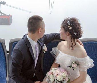 """姑娘出嫁乘缆车 如坐""""空中婚车"""""""