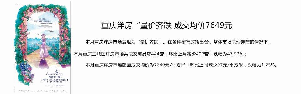 """重庆洋房""""量价齐跌 成交均价7649元"""