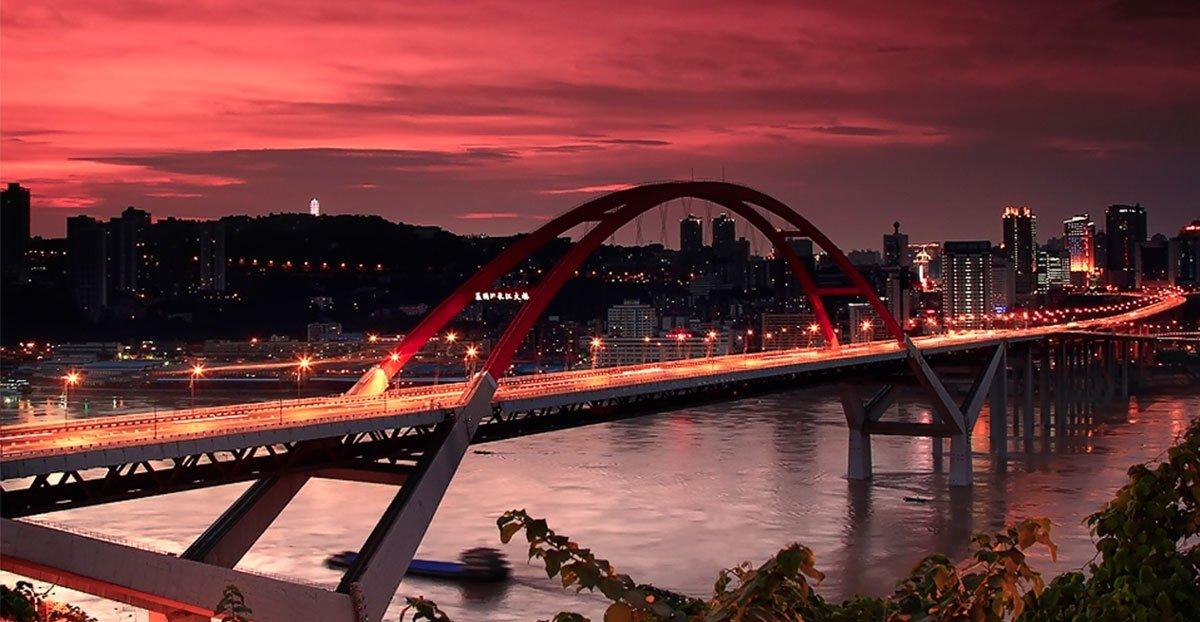 中承式拱桥-航拍鹅公岩大桥