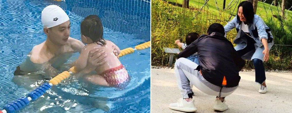 朱丹晒周一围陪女儿上游泳课,小小丹浑身肉嘟嘟