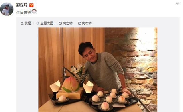 刘嘉玲为老公庆55岁生日 梁朝伟对寿桃放电