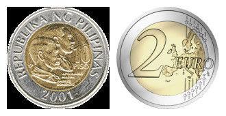 左边为菲律宾钱,右边为2欧元。价值差10倍