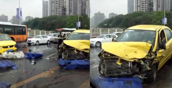 突发:鹅公岩大桥多车相撞 现场惨烈