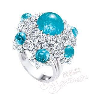 红碧玺镶嵌钻石戒指/enzo高清图片