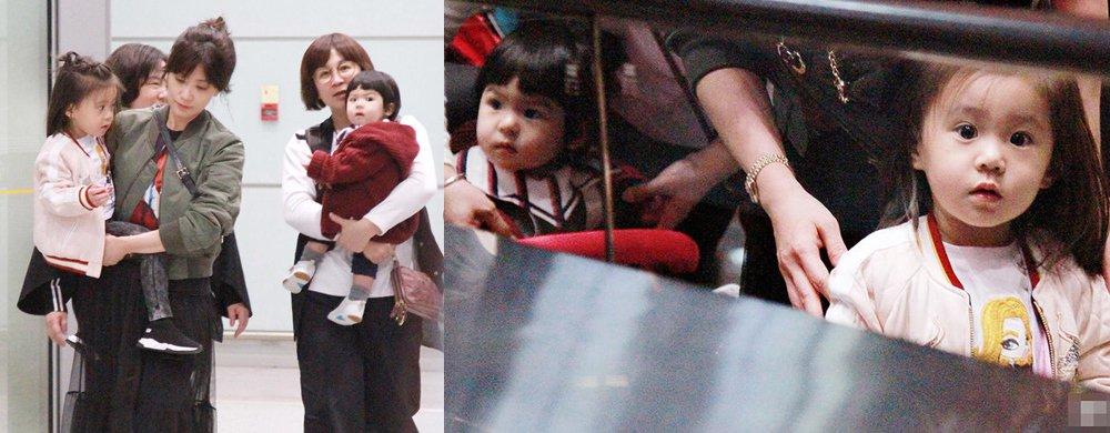 贾静雯带两女儿现身机场 ����很漂亮Bo妞好呆萌