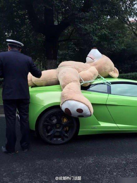 成都一兰博基尼车顶绑超大号毛绒熊被交警查处 组图