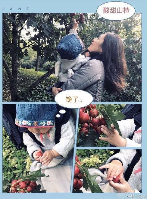 章子怡带女儿摘山楂 醒醒还秀了个兰花指超萌
