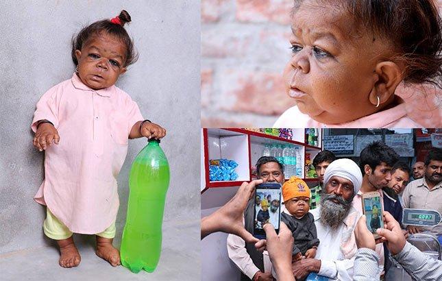 """印度21岁男子身形似半岁婴儿 被当地奉为""""神"""""""