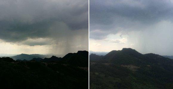 重庆高温天现异象 天空突降暴雨犹如漏水