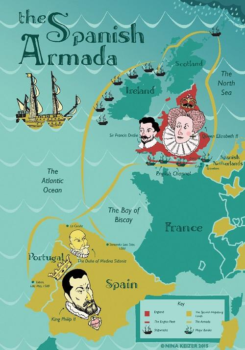 伊丽莎白迫于财政压力与海盗联合对抗西班牙