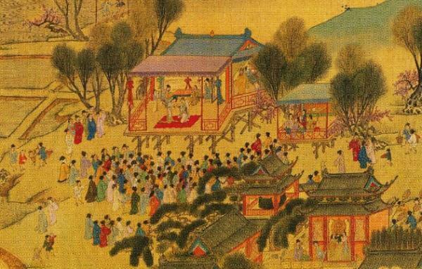 图画中的传统妇女看戏