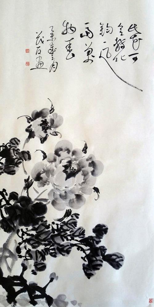 蔡茂友与清代张敔水墨牡丹作品对比欣赏