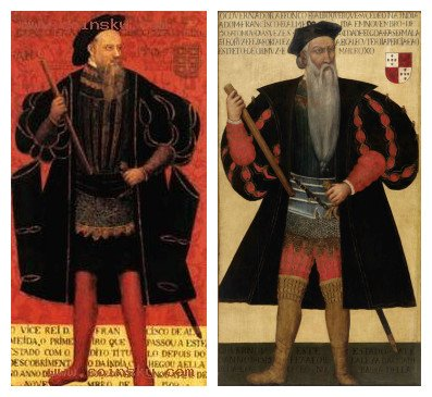 (左)弗朗西斯科・德・阿尔梅达,(右)阿方索・德・阿尔布克尔克