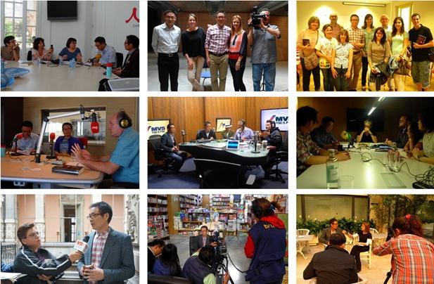 图注:麦家在西班牙、墨西哥、阿根廷接受纸媒、电视媒体、广播媒体采访