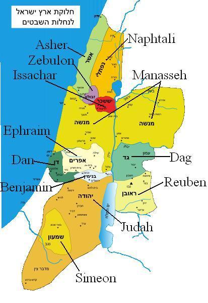 根据《圣经》绘制的以色列十二支派领地示意图