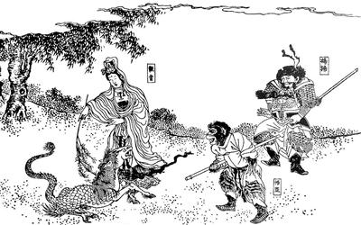 《日本绘本西游记》中的白龙化马情节插图 观音奉佛祖法旨前往长安