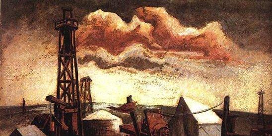图为20世纪美国抽象画派奠基人杰克森・波洛克作品