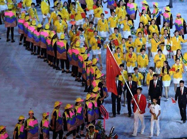 资料图:里约奥运会,中国队入场