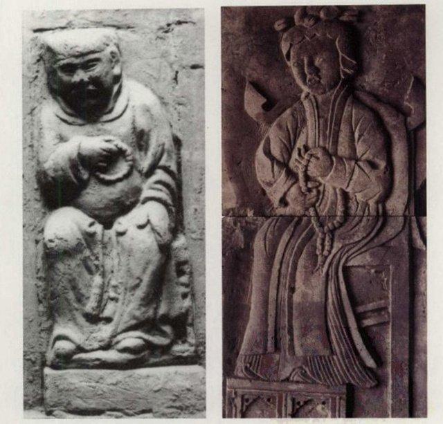 """侯马褚村金墓与曲沃苏村金墓的砖雕。右图持珠即为""""劈腿""""形"""