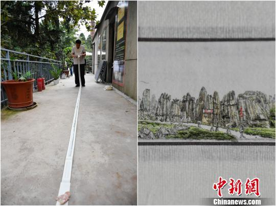 微雕师绘8米长卷展云南风光,人如芝麻大又逼真