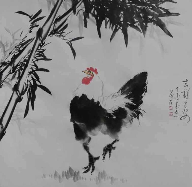 金鸣天下—蔡茂友水墨雄鸡作品欣赏